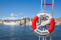 Life buoy on waterfront in Stockholm