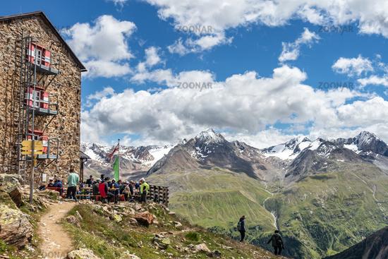 The popular Breslauer Hütte near Vent in the Ötztal valley, South Tyrol, Austria
