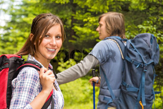 Portrait of hiker girl smiling at camera