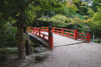 Typical japanese bridge in autumn park on Mount Misen in Miyajima, Hiroshima, Japan