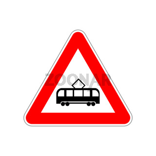 Tram icon on the triangle red and white road sign on white