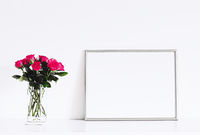 Silver frame on white furniture, luxury home decor and design for mockup, poster print and printable art, online shop showcase