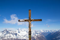 Crucifix on top of mountain Klein Matterhorn in Switzerland