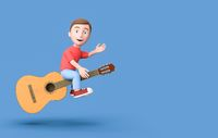 Kid 3D Cartoon Character Flying on a Classical Guitar on Blue with Copy Space