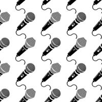 Retro Microphone Icon Isolated on White Background. Seamless Pattern