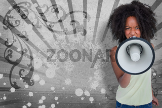 Girl with afro shouting through megaphone with space for text