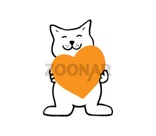 Cute cat holding an orange heart, funny friendly cat isolated on white background.