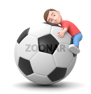 Hug the Soccer Ball. 3D Cartoon Character Illustration