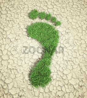 Ecological footprint concept illustration - grass patch footprint