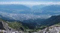 Aerial view of city Innsbruck in Tyrol