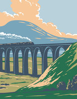 Steam Train on Railway Over Batty Moss or Ribblehead Viaduct in Yorkshire Dales National Park England UK Art Deco WPA Poster Art