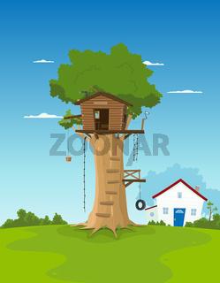 Tree House In Garden Backyard