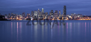 Seattle Waterfront Elliott Bay Night Reflection