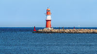 The eastern pier lighthouse in Warnemuende, Mecklenburg-Western Pomerania, Germany