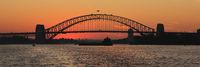 Sydney harbour bridge at sunset.