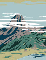Pyrenees National Park or Parc National Des Pyrenees with Pic Du Midi D'ossau in Hautes-Pyrenees and Pyrenees-Atlantiques France Art Deco WPA Poster Art