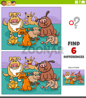 differences educational game with cartoon funny dogs