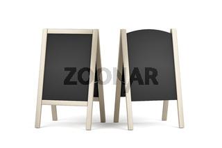 Two wooden menu display boards