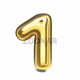 Golden font Number 1 ONE 3D