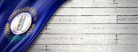 Kentucky flag on white wood wall banner, USA