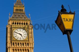Big Ben und Taxi Zeichen