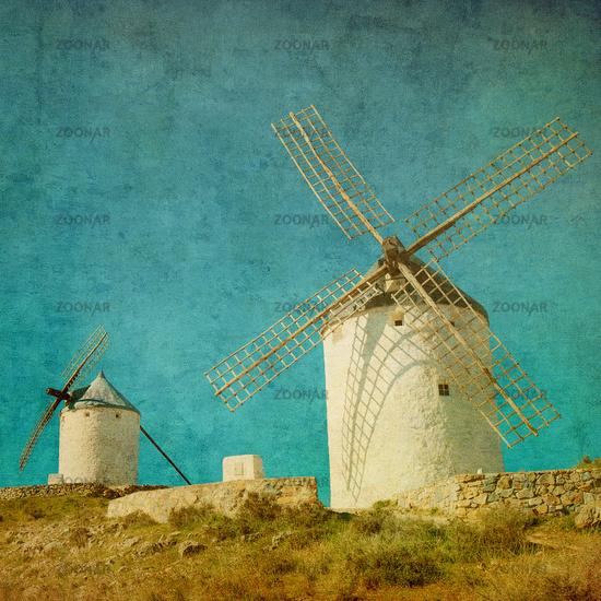 Vintage image of windmills in Consuegra, Spain