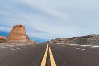 highway on wind erosion zone at dusk