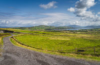 Country road leading from Kerry Cliffs to Portmagee village, Ireland