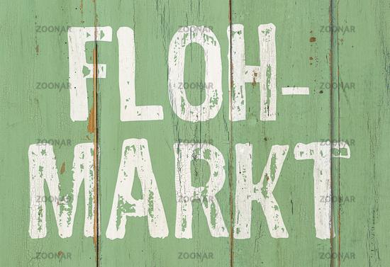 Wooden retro sign - Garage sale in german - Flohmarkt