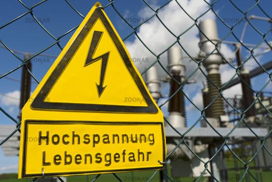 Sign High voltage Danger to life