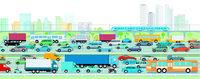 Autobahn vor einer Großstadt illustration