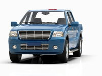 Generic and Brandless Pickup Truck with Enclosed Cabin Isolated on White 3d Illustration
