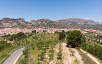 Drone point of view Alcoy town. Spain