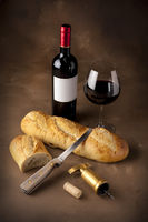 Wine and bread still life