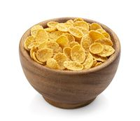 Wooden bowl of corn flakes isolated on white background