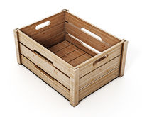 Wooden crate isolated on white background. 3D illustration