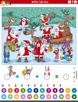 count and add game with comic Christmas characters