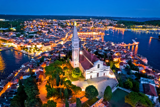 Town of Rovinj historic architecture and coastline evening view