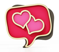 Speech balloons with heart icons isolated on white background. 3D illustration
