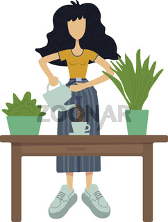 Zero waste flat cartoon vector illustration. Standing woman making herbal tea. Indoor plants. Ready to use 2d character template for commercial, animation, printing design. Isolated comic hero