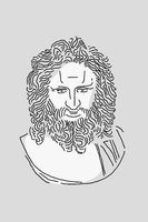 Line drawing of surreal face. Modern art creative image with strict stern man. Crazy contemporary drawing in modern cubism style. Pop art poster. Zine culture. Funky minimalist. Adult bearded man.