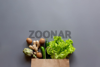 Healthy and organic food flay lay concept on gray background