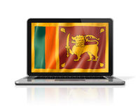Sri Lanka flag on laptop screen isolated on white. 3D illustration