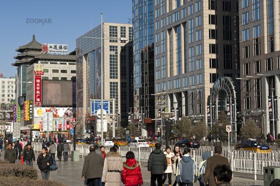 Shopping area Wangfujing street, Beijing, China