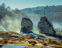 Rocks at the Rhine Falls in Neuhausen near Schaffhausen, Switzerland