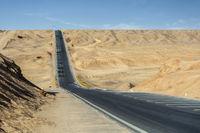 undulating road in desert wilderness