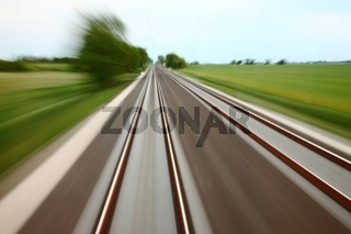 Railway tracks with high speed motion blur