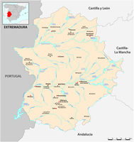 Vector map of the Spanish Autonomous Community of Extremadura with main cities, Spain.eps