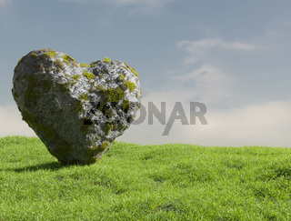 A rock in the shape of a heart stands on a lush meadow.