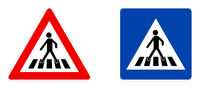 Pedestrian crossing symbol, warning (red triangle) and information (blue square) version.